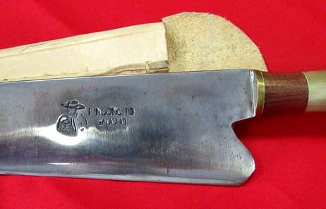 Detalle cuchillo artesanal lamina acero